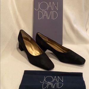 Joan & David vintage black suede heels pumps